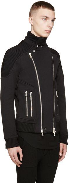 Balmain Black Knit Biker Jacket