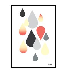 Illustration poster, rain drops by MUUI