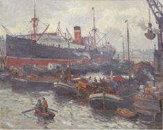 """MOLL Evert (1878-1955) """"Scène de port"""". Huile sur toile. Signée en bas à droite. 39 x 50 cm. (accdt)"""