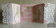 "Angela Clerehugh - Gate Fold Card (open) - Die'sire Edge'ables Rococo Die - Centura Pearl Card - Sara Davies Floral Delight Pretty Petals Die - Die'sire Ivy Die - Die'sire Contemporary Upper & Lower Case 1"" Dies - Collall Tacky Glue - Collall 3D Glue Gel - Distress Inks – Pearls - Gems - #crafterscompanion"