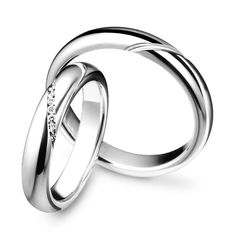 Pair of Polello Wedding Rings In White Gold With Brilliant Cut Diamonds Kt. - Pair of Polello Wedding Rings In White Gold With Brilliant Cut Diamonds Kt. Platinum Wedding Rings, White Gold Wedding Rings, Stacked Wedding Bands, Ring My Bell, Braided Ring, Couple Rings, Brilliant Diamond, Diamond Rings, Jewelry Rings