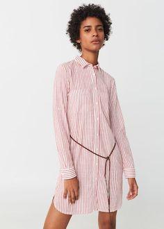 Striped shirt dress - f foDay Woman   MANGO Bulgaria