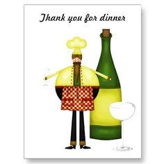 Chelf Thank you for dinner post card