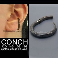Large conch piercing hoop earring for men in black. Made from 925 sterling silver and plated in black. It can be customized in different gauges Mens Piercings, Gauges Piercing, Conch Hoop, Conch Earring, Sterling Silver Hoops, 1 Piece, Hoop Earrings, Unique Jewelry, Black