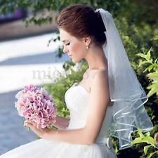 3T Ivory/White/Black Cathedral Wedding Bridal Short Veil Satin Edge With Comb UK.. A FIVER .....