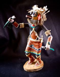 "Hopi Situlili Kachina Snake Racer.( Katsina )- Signed Ernest Chapella Polacca Ariz ""59""of the Hopi Pueblo, passed away tragically in 1997.  Chapella was an outstanding carver of katsina dolls and it is unfortunate he is no longer with us.  Measures 11 1/2 "" high.  As a ""runner,"" the Situlili, or Snake Racer belongs to a class of kachinas who are not dancers but rather run races with the men and boys of the village.  by FarRiderWest on Etsy - SOLD-"