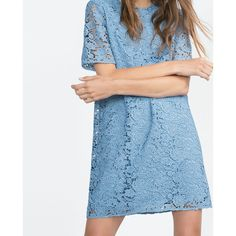 Zara Lace Dress ($100) via Polyvore featuring dresses, blue dress, zara dresses, lace dress, blue cocktail dress and lace cocktail dress