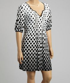 Black & White Geometric Scoop Neck Shift Dress - Plus - Shades of Summer