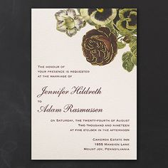 Vintage Blossoms - Invitation 40% Off http://mediaplus.carlsoncraft.com/3214-MM13731-Vintage-Blossoms--Invitation.pro MM13731 If you love flowers, you'll love the vintage floral bouquet on this wedding invitation. It's accented in gold foil for unique shine.