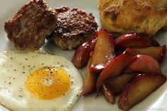 Cinnamon Fried Apples, Sunny-Side Up Egg, Breakfast Sausage and Biscuit = Breakkkfasst