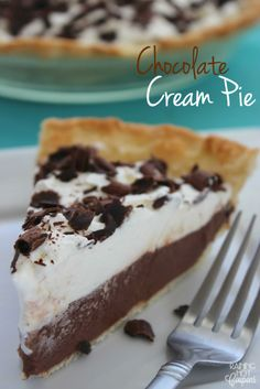 Chocolate Cream Pie - This is a very chocolate, creamy and light pie recipe. I like to eat it cold during the hot Summer months. Kid friendly recipe of course! (Bake Goods To Sell) Pie Recipes, Baking Recipes, Dessert Recipes, Chocolate Pies, Chocolate Cream, Vegan Chocolate, Just Desserts, Delicious Desserts, Yummy Food