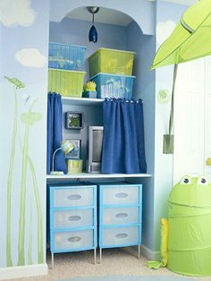Transform a Nook: An awkward nook of space gets a storage redo with a few simple shelves, bin storage up high, and twin drawer units underneath. The TV shelf was mounted at desk height so the space can be used for homework once school starts.