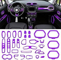 Danti Car Interior Accessories Decoration Cover Trim Air Conditioning Vent Decoration & Door Speaker & Water Cup Holder & Window Lift Button Covers for Jeep Renegade (Purple) Accessoires De Jeep Wrangler, Accessoires Jeep, Jeep Wrangler Accessories, Jeep Cherokee Accessories, Auto Jeep, Jeep Cars, Car Interior Accessories, Car Accessories For Girls, Jeep Accessories