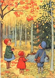 "'Raining Leaves' illustration, children | ""The leaves are green, the nuts are brown, They hang so high they won't come down. Leave them alone till frosty weather, Then they will all come down together!"" ~Old Children's Rhyme"