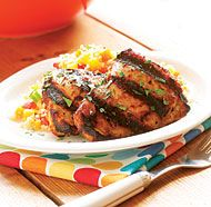 Grilled Tandoori-Style Chicken Thighs.   This recipe calls for boneless meat, but I've used bone in chicken.  Also, I bake it instead of grill it, and make extra yogurt sauce to eat with the chicken.  It's especially yummy with rice cooked with tumeric, pine nuts or almonds, and golden raisins.  We also eat it with lentils.  Yum!