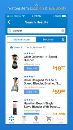 Walmart - search results (with Stock by selected Store)