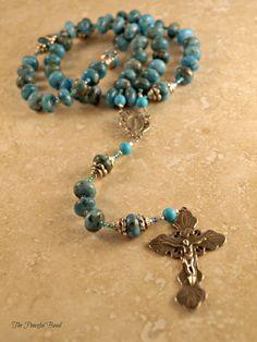 Our Lady of the Lake Catholic Rosary - Jasper, Howlite and White Bronze. $79.00, via Etsy.