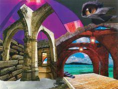Ruinas de cristal y agua. Collage A3.