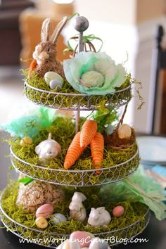 Easter centerpiece with diy cabbages made from coffee filters :: WorthingCourtBlog.com