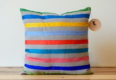 Colorful Stripes LInen and Silk Pillow  18 Inches  by KissenStudio, $55.00