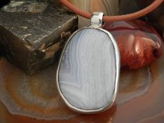 Blue Lace Agate Pendant by ByLENNARDH on Etsy
