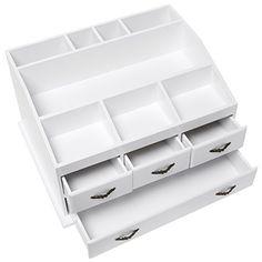 Shabby Chic White Wood 8 Trays 4 Storage Drawers Jewelry / Makeup / Cosmetics Organizer Display Rack