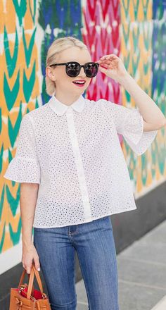 White Eyelet Bell Sleeve Shirt For Summer - Poor Little It Girl Lunch Date Outfit, I Love Fashion, Spring Fashion, Fashion Ideas, Women's Fashion, White Espadrilles, Casual Chic Summer, Bell Sleeve Shirt, Professional Outfits