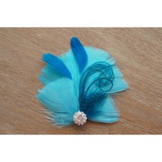 Evangeline Aqua Teal Feather Guinea Rhinestone Hair Clip Hairpiece... ($14) ❤ liked on Polyvore featuring accessories, hair accessories, barrettes & clips, grey, feather fascinator, teal hair accessories, hair fascinators, feather hair clip and fascinator hats