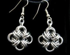 Butterfly Wing Chainmaille Earrings with Green by WolfstoneJewelry