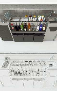 """models: Restaurant - Bar station - Design """"Gastro & Co"""" - Cocktail Bar Interior, Home Cocktail Bar, Cocktail Bar Design, Restaurant Kitchen Design, Design Bar Restaurant, Kitchen Bar Design, Bar Catering, Pub Bar, Cafe Bar"""