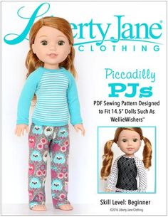 Liberty Jane Piccadilly PJs Doll Clothes Pattern For WellieWishers Dolls | Pixie Faire