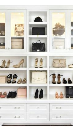 For the Home closet organization, closet shelves, purse organization, shoe organization - Organizing Purses In Closet, Diy Closet Shelves, Closet Shoe Storage, Shelves In Bedroom, Purse Organization, Pantry Closet, Closet Office, Bedroom Organization, Wardrobe Closet