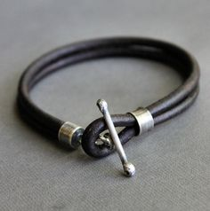 Thick Dark Brown Leather Toggle Bracelet