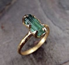 Raw Green Tourmaline Gold Ring Rough Uncut Gemstone Crystal recycled 14k Size 5 3/4 stacking cocktail statement byAngeline: