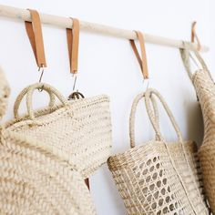 On the blog this morning... a #diy bag rack to house my ever growing straw bag obsession. Who else can't stop buying them?!?!  scroll for more pics and see the tutorial on the blog.