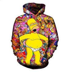 3d huppari hauskaa ruokaa sarja Simpson huppari syksy talvi muoti miesten  pusero hip-hop vaatteet hauskaa keltainen vatsa Simpson S-5XL a6c663c98b