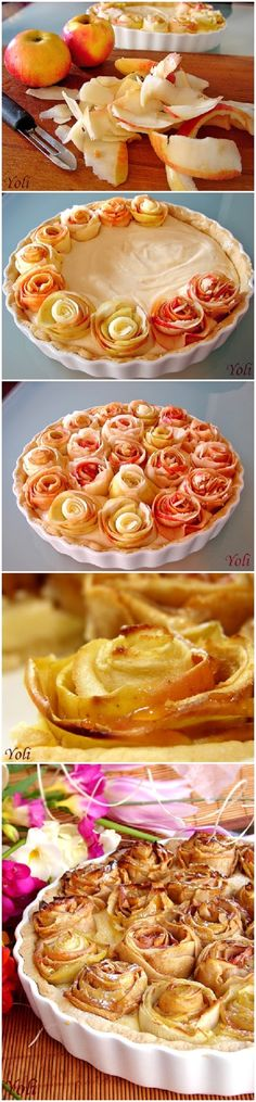 Apple pie with roses: this gives the ingredients but not the instructions! Might be able to figure it out if you've ever made a cream filled pie. Must figure this out. Just Desserts, Delicious Desserts, Dessert Recipes, Yummy Food, Cuisine Diverse, Sweet Recipes, Love Food, Baking Recipes, Sweet Treats