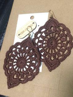 Crochet jeans blue openwork dangle earrings, crochet earring, craft jewelry, mandala earrings, great accessorise for everyday look - Quixotic Tutorial and Ideas Mandala Au Crochet, Crochet Puff Flower, Crochet Flower Patterns, Love Crochet, Crochet Flowers, Crochet Hats, Earring Crafts, Jewelry Crafts, Crochet Earrings Pattern