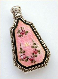 Webster Sterling Silver Pink Roses Enamel Guilloche Perfume Scent Bottle Flask