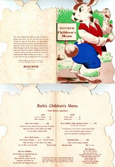 Rich's Children's Menu--Born And Raised In The South...,: M.R. Rich & Brothers Co. (Rich's Department Store, Atlanta)