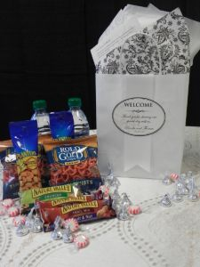 More and more couples are providing Welcome Bags for their guest from out of town…it's a great way to welcome them to your wedding celebration…. And a nice touch at the end of the night, returning to your hotel room after a long night of partying! Here is a beautiful Welcome Bags we recently …