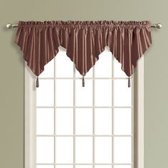 United Curtain Co. Anna Ascot Valance - 24'' x 42'', Brown