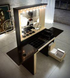 Mueble maquillaje on Behance Makeup Studio Decor, Makeup Room Decor, Makeup Table Vanity, Diy Vanity, Decor Interior Design, Interior Design Living Room, Study Table Designs, Dressing Table Design, Kids Table And Chairs