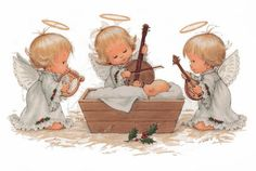 Ruth Morehead artist ~ Christmas Holly Babe angels playing music for Baby Jesus