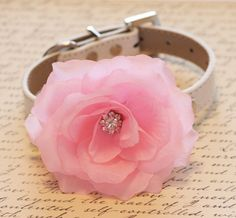 Hey, I found this really awesome Etsy listing at http://www.etsy.com/listing/128163454/pink-floral-wedding-dog-collar-high