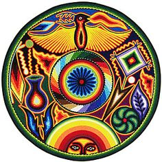 """Huichol Yarn Painting 12""""  I love this!! Possible ink???"""