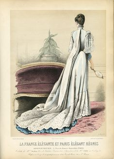 The dressing gown – an incarnation of the house dress – was the forerunner to the tea gown which appeared quite generally by Sacque? 1880s Fashion, Victorian Fashion, Vintage Fashion, Gothic Fashion, Vintage Couture, Steampunk Fashion, Fashion Fashion, Fashion Women, Historical Costume