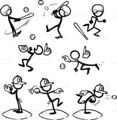 Stick Figure People Baseball / Softball royalty-free stock vector art