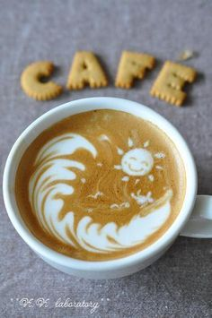 Coffee art and latte art - sunshine and waves Café Latte, Coffee Latte Art, I Love Coffee, Coffee Break, Best Coffee, Coffee Coffee, Morning Coffee, Happy Coffee, Coffee Shops