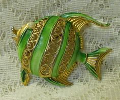 Vintage Puffer Fish Brooch Pin by ViksVintageJewelry on Etsy, $13.99